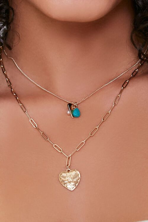 Heart Pendant & Charms Layered Necklace, image 1