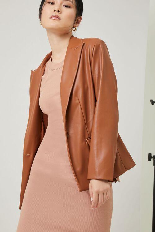 Faux Leather Blazer, image 1
