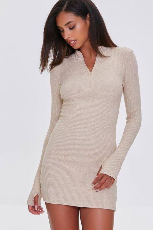 TAUPE Heathered Ribbed Knit Mini Dress, image 1