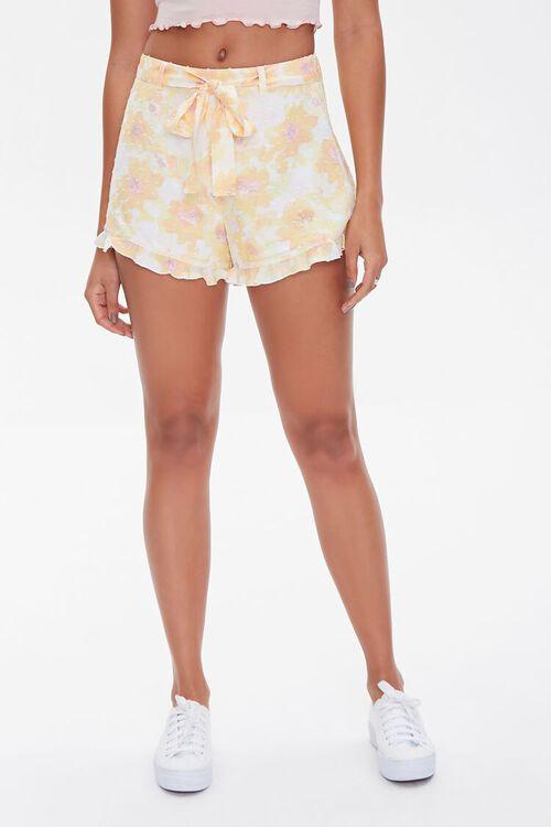 YELLOW/MULTI Floral Print Ruffle-Trim Shorts, image 2