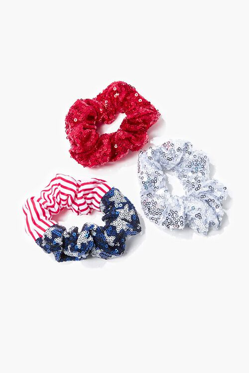 Sequin Stars & Stripes Scrunchie Set, image 1
