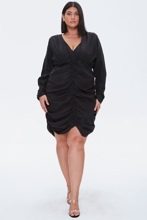 Plus Size Ruched Mini Dress, image 4