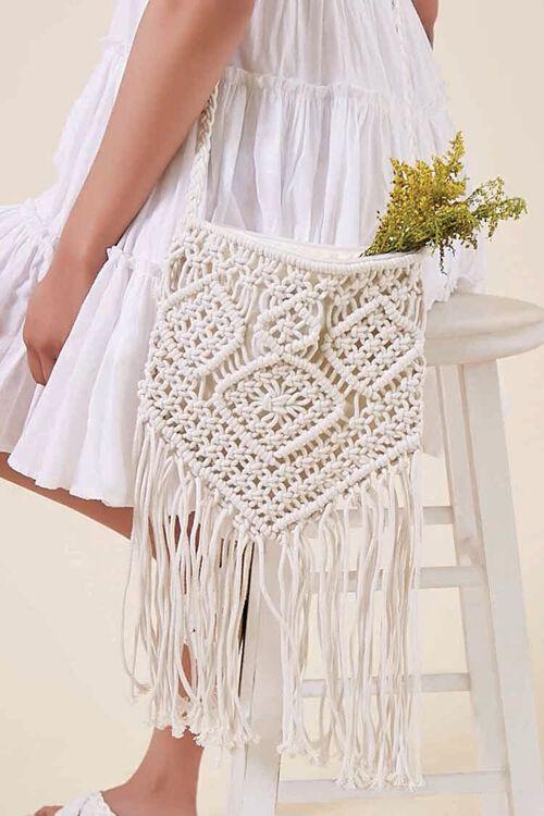 CREAM Crochet Fringe Crossbody Bag, image 1