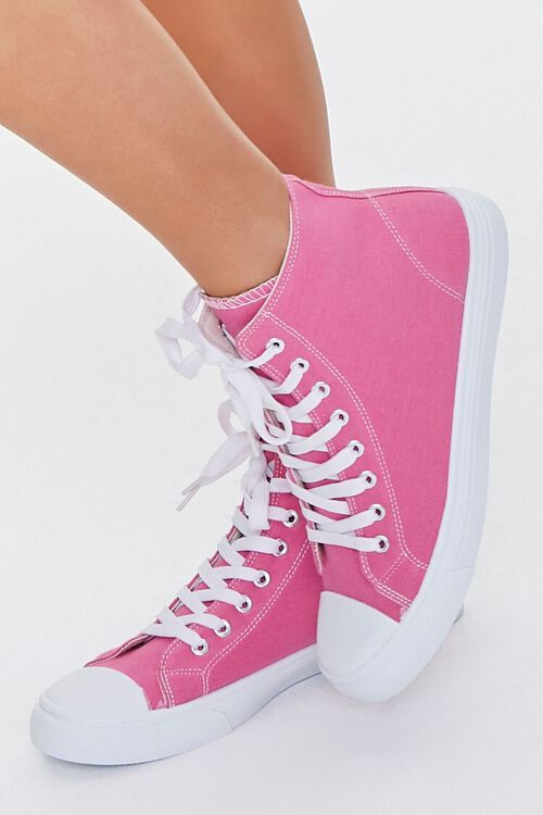 PINK Lace-Up High-Top Sneakers, image 1