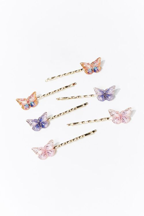 PINK/MULTI Butterfly Charm Bobby Pin Set, image 1