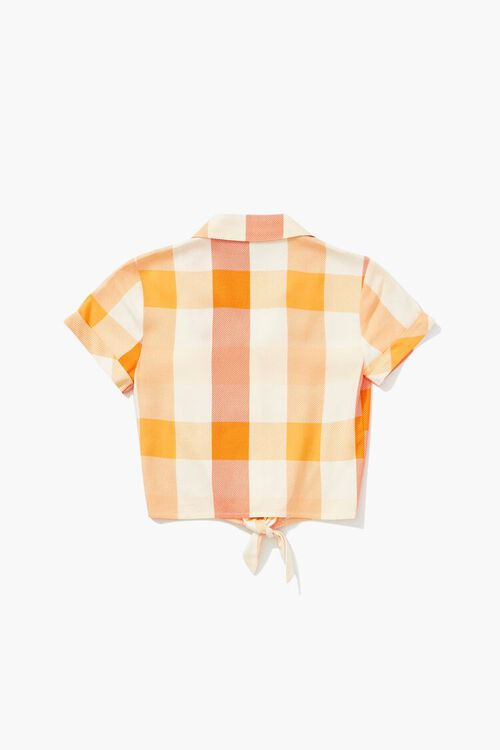 Girls Knotted Plaid Shirt (Kids), image 2