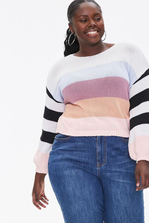Plus Size Striped-Sleeve Sweater, image 1