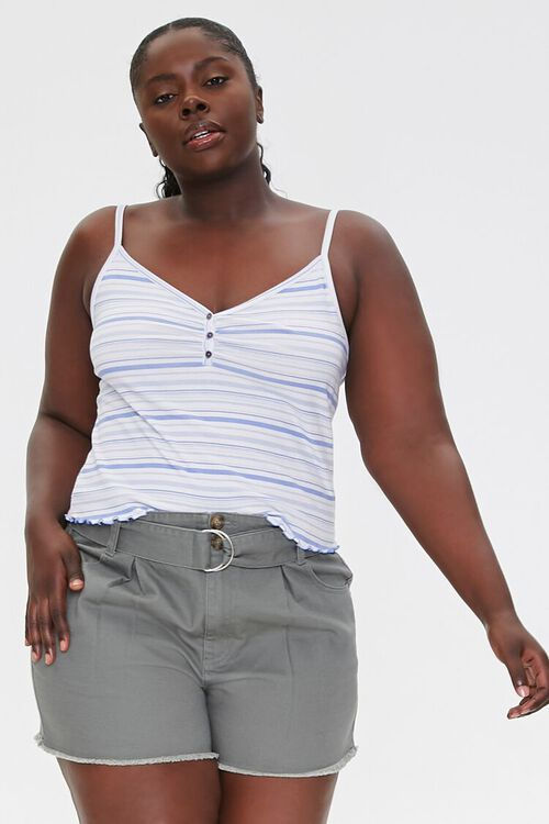 Plus Size Belted High-Rise Shorts, image 6