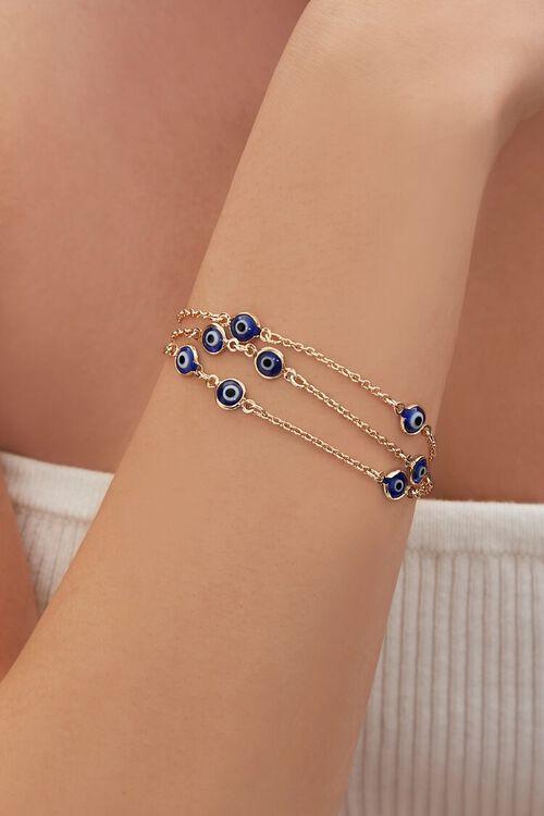 GOLD/BLUE Evil Eye Charm Bracelet Set, image 1