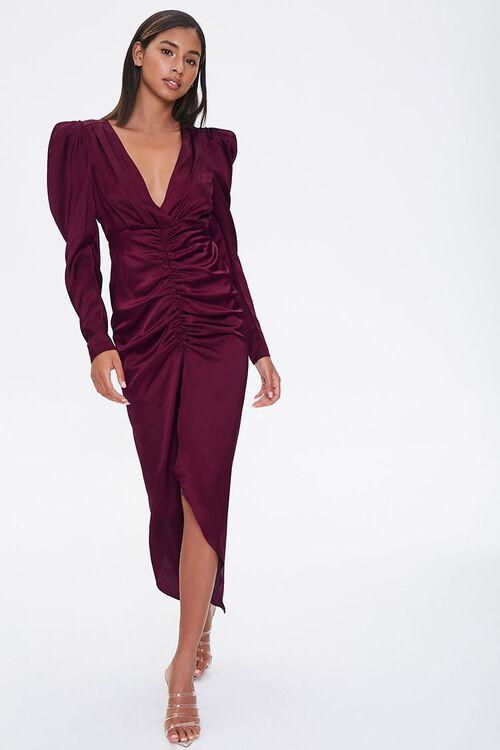 Ruched Puff-Sleeve Midi Dress, image 1