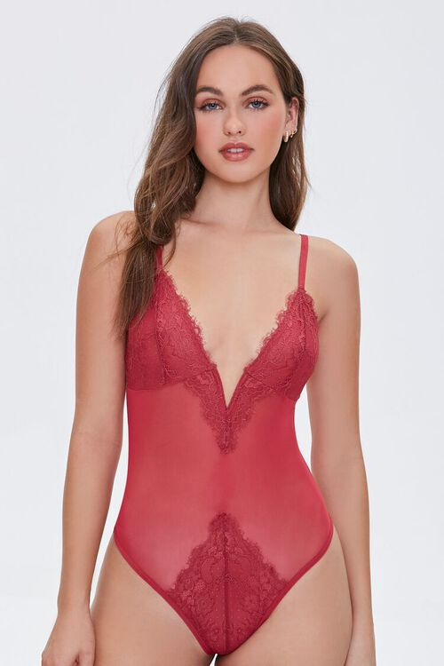 SUNSET Lace Sheer Mesh Teddy, image 5