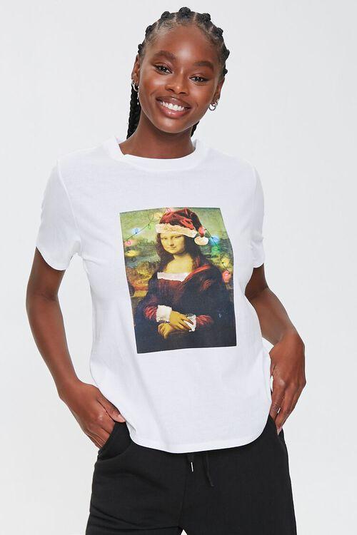 WHITE/MULTI Christmas Mona Lisa Tee, image 1