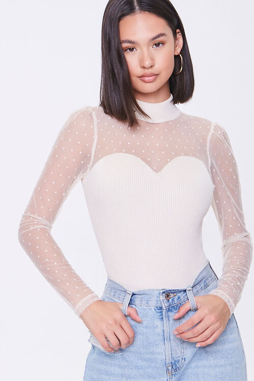 Dotted Sweater-Knit Bodysuit, image 1