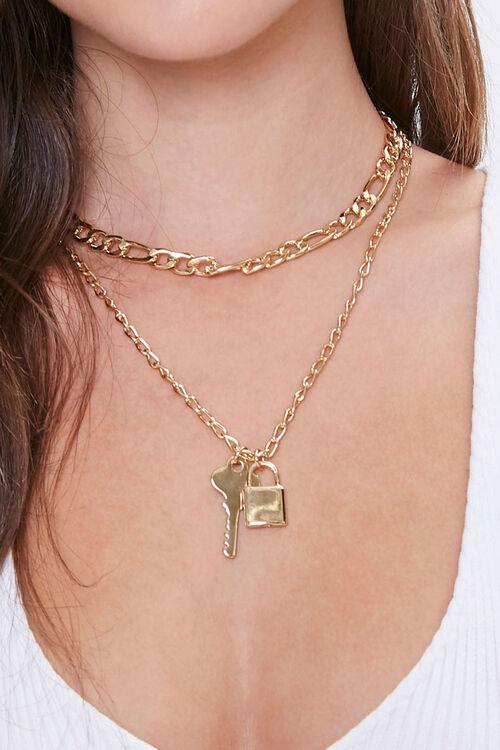 Lock & Key Pendant Layered Necklace, image 1