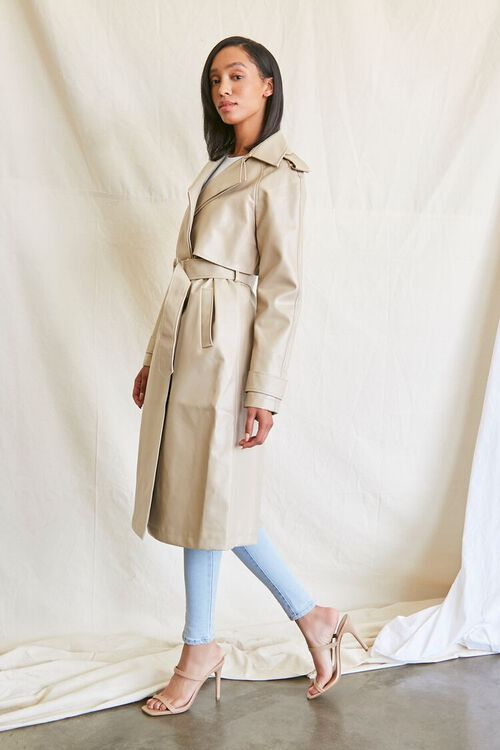 DESERT SAND Faux Leather Trench Coat, image 3