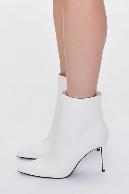 WHITE Faux Leather Stiletto Booties, image 2