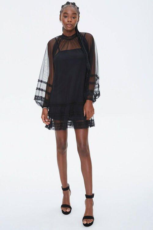 Mesh Ruffle-Trim Mini Dress, image 4