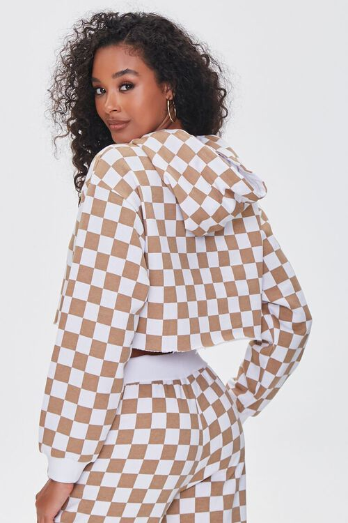 TAUPE/WHITE Checkered Cropped Hoodie, image 3