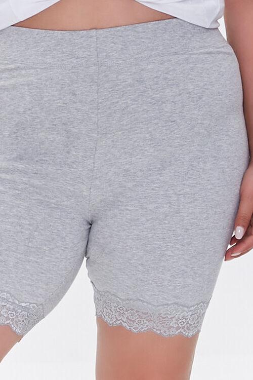 HEATHER GREY Plus Size Lace-Trim Biker Shorts, image 5
