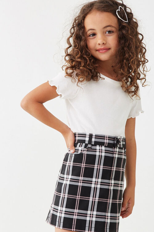 Girls Multicolor Plaid Skirt (Kids), image 1