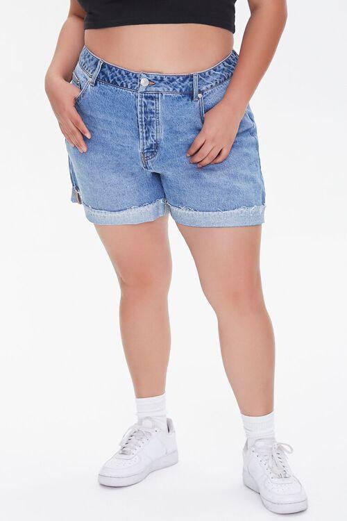 Plus Size Whiskered Denim Shorts, image 2