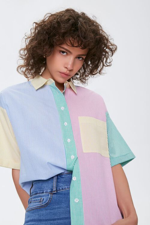 Colorblock Pinstriped Shirt, image 1