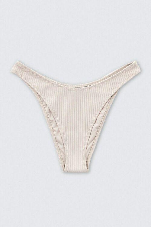 TAUPE Ribbed High-Leg Bikini Bottoms, image 1
