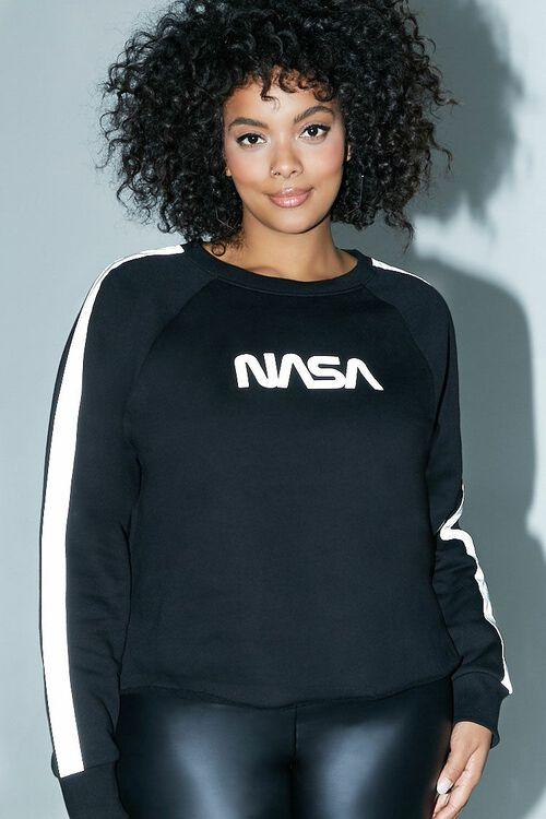 BLACK/SILVER Plus Size NASA Logo Graphic Sweatshirt, image 1