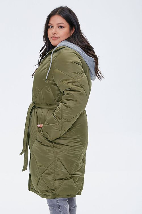 Plus Size Longline Quilted Puffer Jacket, image 2