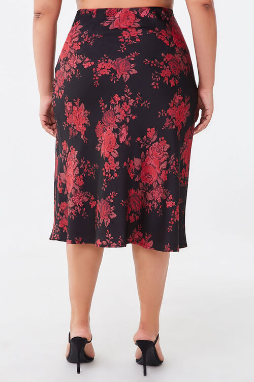 Plus Size Floral Satin Skirt, image 4