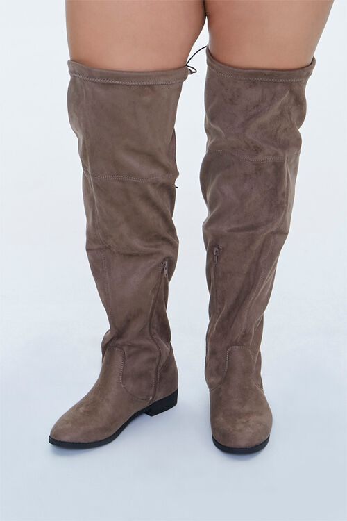 Faux Suede Thigh-High Boots (Wide), image 4
