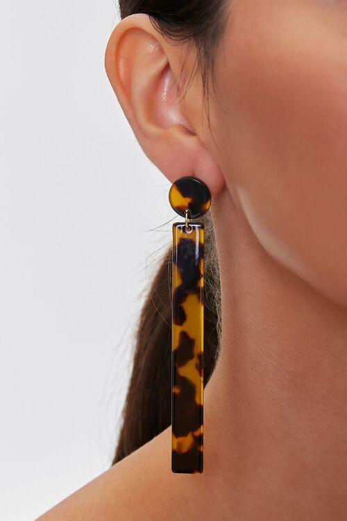 BROWN/BLACK Tortoiseshell Bar Drop Earrings, image 1