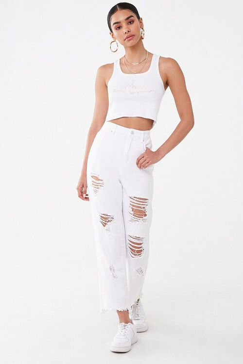 WHITE/GOLD Baby Phat Graphic Cropped Tank Top, image 4