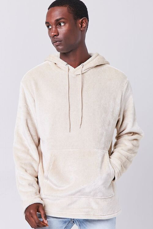 TAUPE Fuzzy Knit Hoodie, image 1