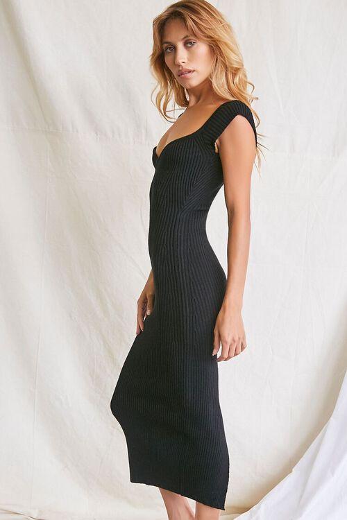 BLACK Sweater-Knit Ribbed Midi Dress, image 2