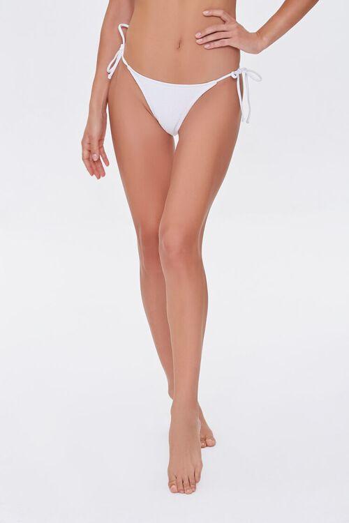 WHITE Textured Spotted Print String Bikini Bottoms, image 2