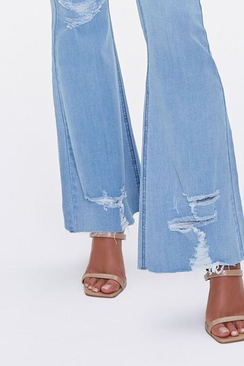 LIGHT DENIM Premium Distressed Flare Jeans, image 5