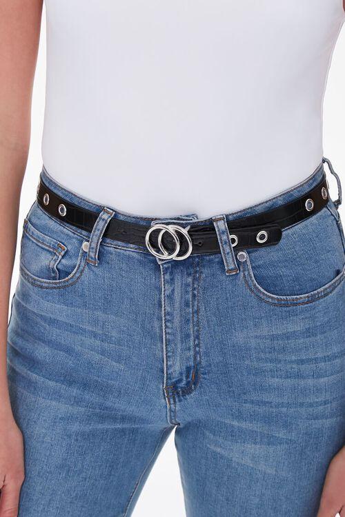 Faux Croc Leather Grommet Belt, image 1