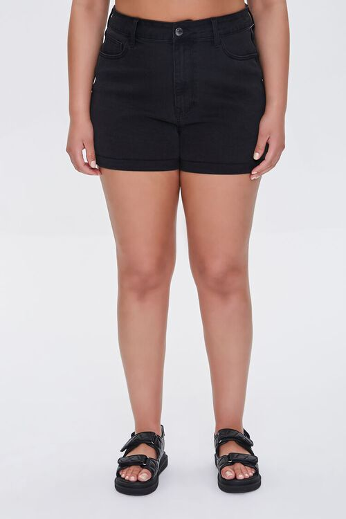 Plus Size Denim Curvy Shorts, image 2