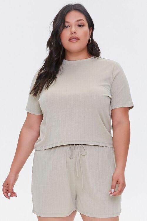 Plus Size Tee & Drawstring Shorts Set, image 1