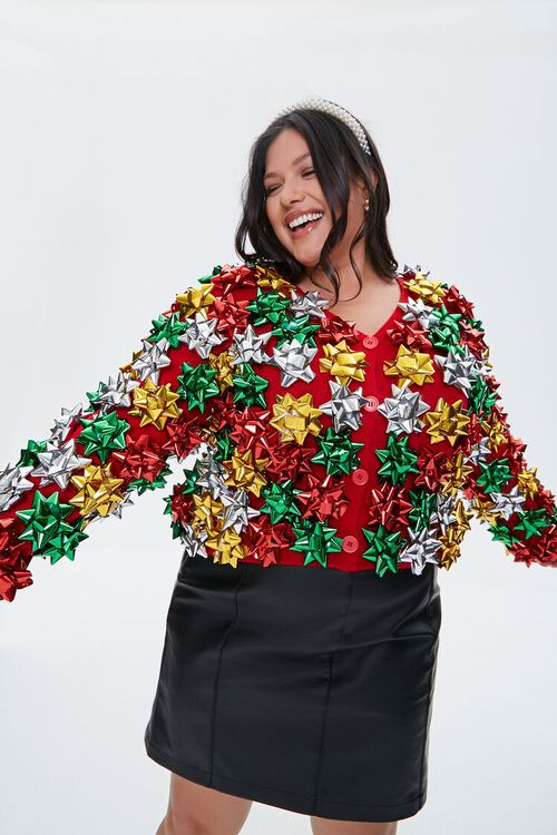 Plus Size Gift Topper Cardigan Sweater, image 1