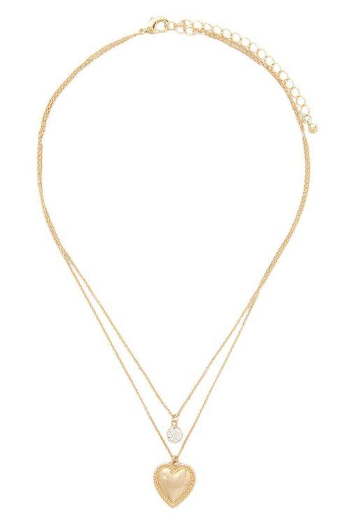 Layered Rhinestone & Heart Pendant Chain Necklace, image 2