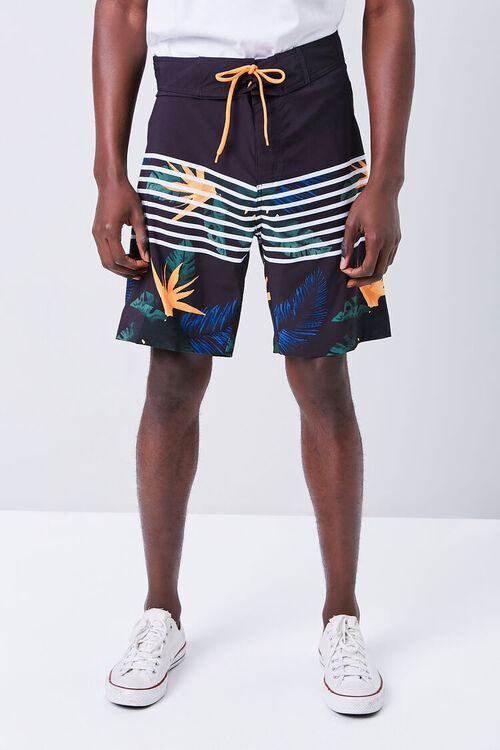 Tropical Striped Swim Trunks, image 2