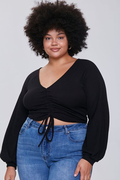 Plus Size Ruched Crop Top, image 1