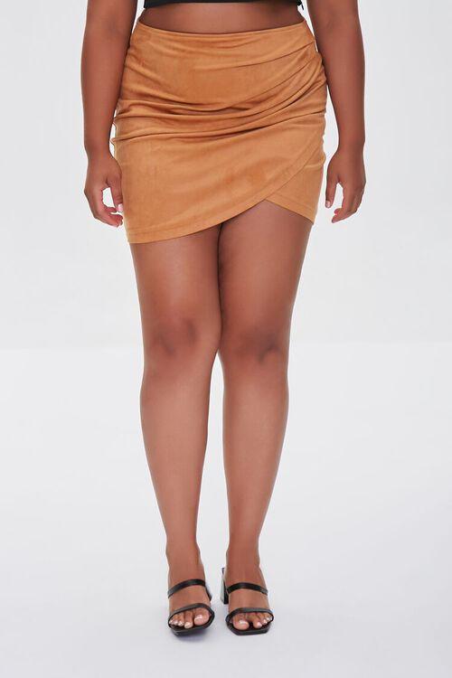CAMEL Plus Size Tulip Mini Skirt, image 2