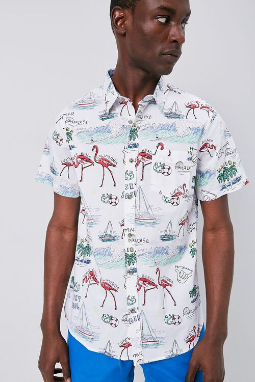 WHITE/MULTI Tropical Seaside Print Fitted Shirt, image 1