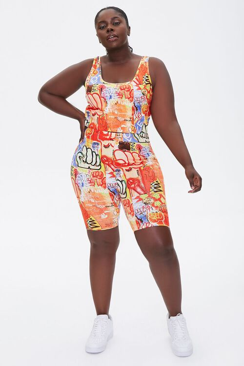 Plus Size Ashley Walker Art Print Biker Shorts, image 5