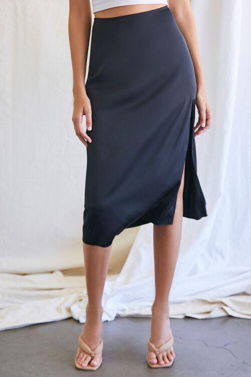 BLACK Knee-Length Slit Skirt, image 2