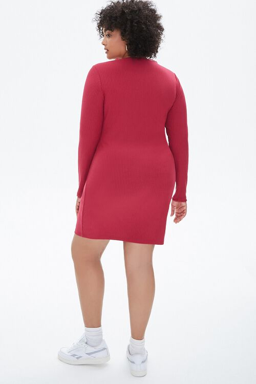 Plus Size Ribbed Mesh-Trim Dress, image 3