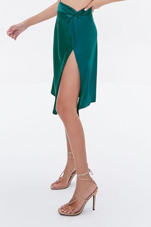 BLUE Gathered Satin Slit Skirt, image 3